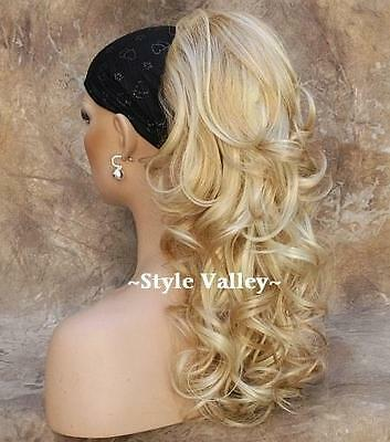 Long Blonde Mix Ponytail Extension Hairpiece Curly Claw Clip in/on Hair Piece