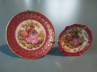 2 X Beautiful Limoges Miniature Plates - Burgandy/gold/courting Couples
