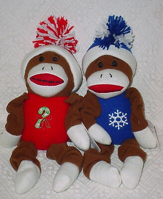 13 INCH PLUSH SQUEAK TOYS HOLIDAY TIME SOCK MONKEY 2 COLOR ROPE NEW *
