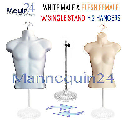 2 Mannequins: White Male & Flesh Female Torso Body Forms +1 Stand +2 Hangers