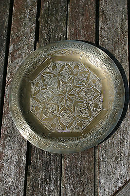 Brass Engraved Oriental Patterned Dish