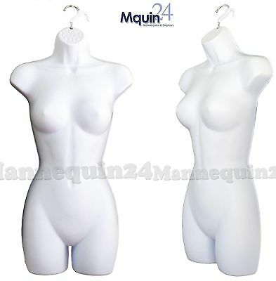 1 NEW Female Dress Mannequin Body Form (Hard Plastic /White) & 1 Hanging Hook