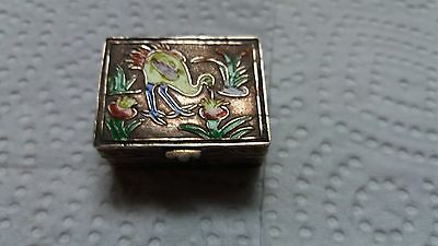 Vintage small silver Enameled pill Box