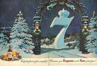 1951 vintage Christmas AD SEAGRAMS SEVEN CROWN Whiskey Nice winter scene 111116