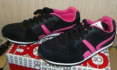 New Bongo Womens Size 8 Black & Bright Pink Canvas Hero Sneakers Tennis Shoes