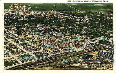 Cheyenne Wyoming 1933 Aerial View Town Railroad Depot Yard Roundhouse Postcard