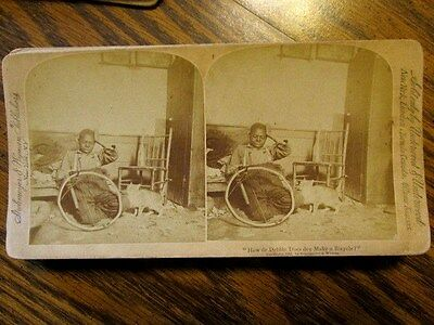 """How de Debble Does Dey Make a Bicycle"""" BLACK BOY AMERICANA 1891 CARD STEREOVIEW"""