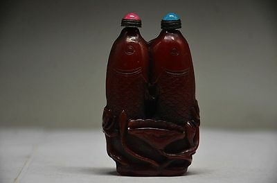 Collectible Chinese Ox Horn Hand Carved Double Fish Snuff Bottle