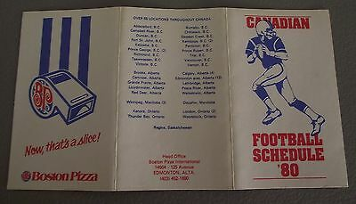 1980 Canadian Football League Pocket Schedule- Sponsored by Boston Pizza
