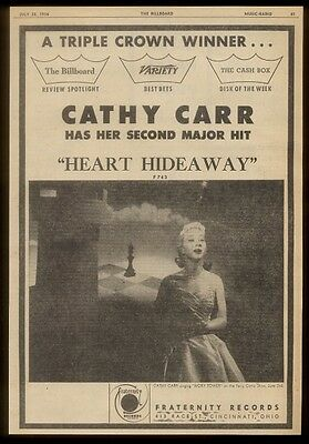 1956 Cathy Carr photo Heart Hideaway Fraternity Records   trade print ad
