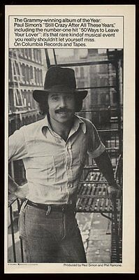 1976 Paul Simon photo 50 Ways to Leave Your Lover song release vintage print ad