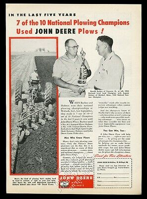 1956 John Deere farm tractor plow plowing champion photo vintage print ad
