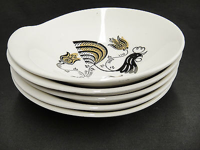 Good Morning Lot of 5 Lugged Cereal Bowls Rooster by Royal Black & Gold 6.25 MCM
