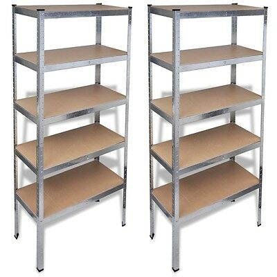 2X 5 Tier Boltless Industrial Racking Garage Shelving Storage Shelve Heavy Duty