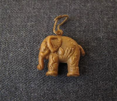 Vintage Light Brown Celluloid Elephant Charm Pendant With String