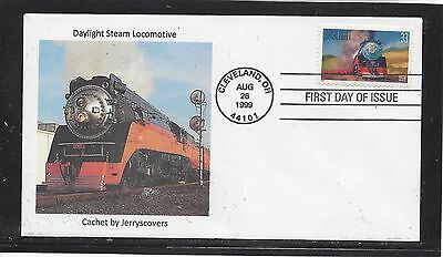 Railroad Daylight Steam Locomotive Fdc 1999 Cleveland, Ohio Only One Made