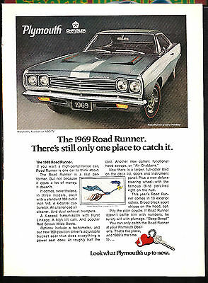 """1969  PLYMOUTH ROAD RUNNER  Full-Page Original Print Ad    8"""" x 11"""""""