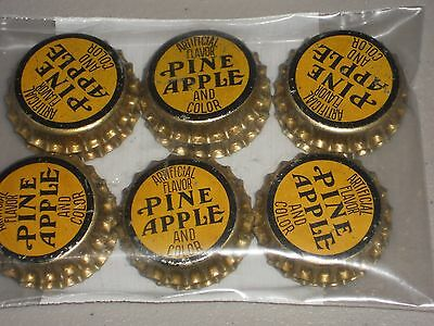 6  /60s UNUSED CORK LINED PINE APPLE SODA BOTTLE CAPS  GOOD COND