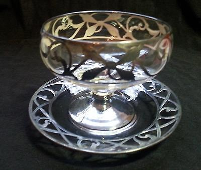 9 Sterling Silver Overlay Sherbet Dishes w/Underplates Art Nouveau VGC!