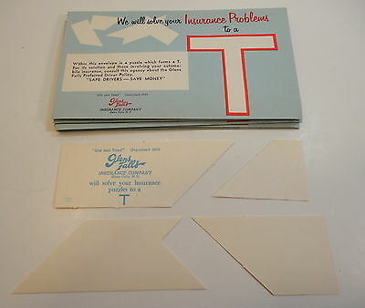 6 Vintage glens falls insurance co Promotional paper puzzle in envelope