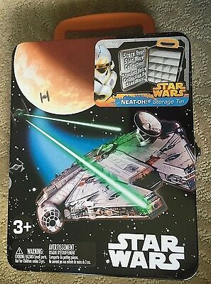 NEW Disney Star Wars Metal Storage Box Tin w Compartments for Collectibles