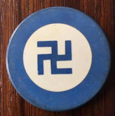Vintage BLUE Clay Poker Chip Antique GOOD LUCK Swastika / Swaztika Pre-WWII 1930