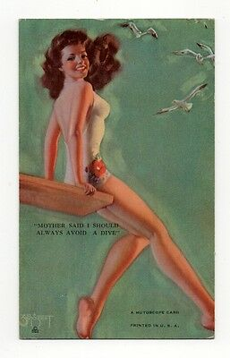 """1945 Mutoscope Artist Pin Ups Arcade Card """"Mother Said I Should Always Avoid...."""