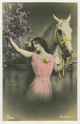 1910's Beautiful Young LADY w/ WHITE HORSE tinted photo postcard