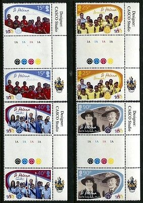 St. Helena 1010-1013, MNGirl Guides Cent. Gutter Pairs. x7680