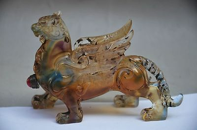 Exquisite Chinese Coloured Glaze Hand Carved Tiger Snuff Bottle