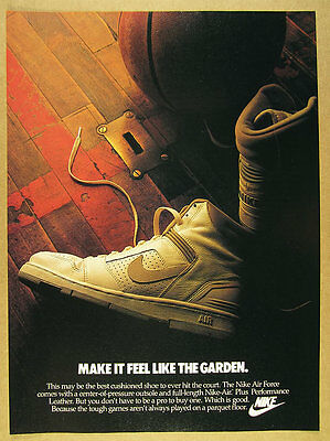 1986 Nike AIR FORCE Basketball Shoes white hi-tops photo vintage print Ad