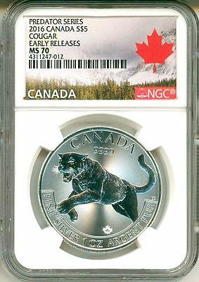 2016 $5 Canada Predator Series Cougar Early Release NGC MS70
