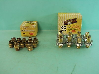 """Lot of 20 Vtg Nelson 3/4"""" x 1/2"""" Solid Brass Male Hose Nipples  3/4"""" Pipe Mender"""