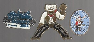 Calgary Stampede pins: Fluor 04 & 98 Rope Square; Chinook Centre 89 Breakfast