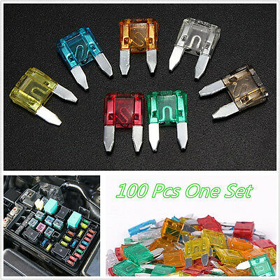 100 Pcs/Set 7Sizes Assorted Mixed Color Car Truck Small Size Profile Blade Fuses