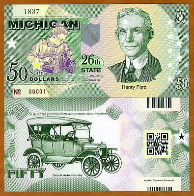 USA States, Michigan, $50, Polymer, ND (2017), UNC   Henry Ford, Model T