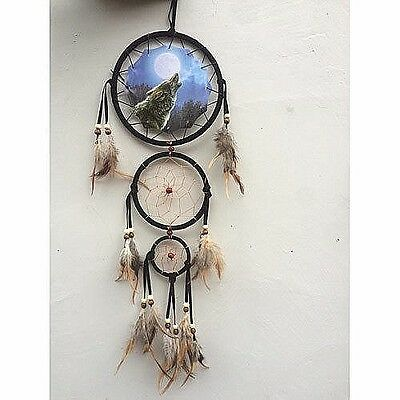 "New 20"" Long Wolf Howl Moon Dream Catcher Wall Hang Decor Feathers Beads Gift"
