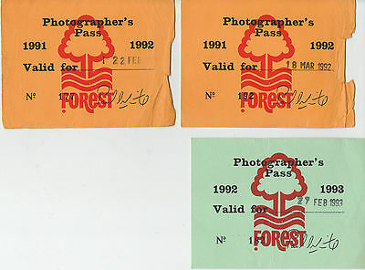 Forest Three Photographer's Pass For Nottingham Forest F.c. Two 1992 & One 1993