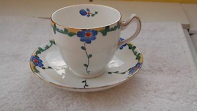 Pre 1936 Bishop And Stonier [Bisto] Cup And Saucer   Blue Floral Pattern