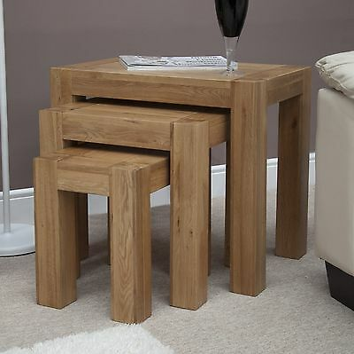 Michigan nest of three coffee tables solid oak living room furniture