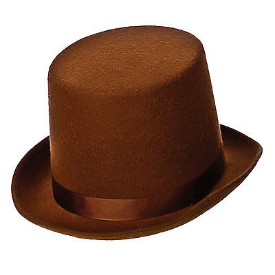 Adults Brown Top Hat Victorian Style Fancy Dress Up Party Halloween Accessory