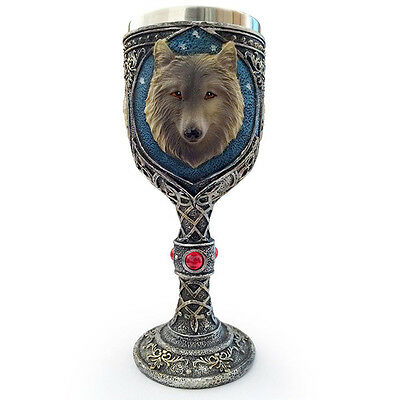 Wolf Head Floral Decor Pattern Halloween Goblet Cool Drink Wine Glass Mug 4577HC