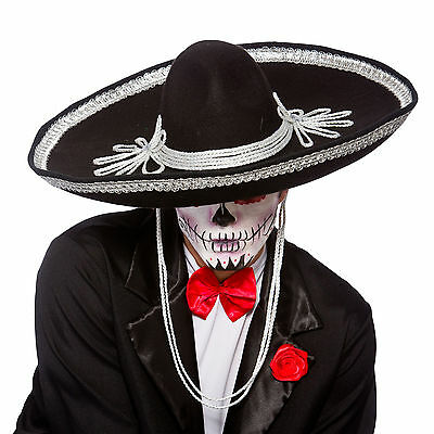 Adult Black Sombrero Hat Fancy Dress Accessory Day Of The Dead Mexican Amigo New