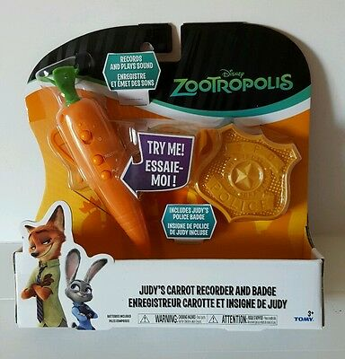 Brand New Tomy Zootropolis Judy's Carrot Recorder And Badge Gift