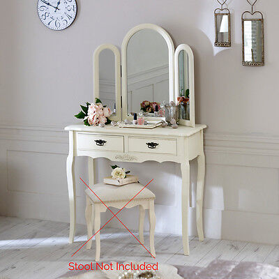 cream painted wooden dressing table vintage triple mirror bedroom furniture set