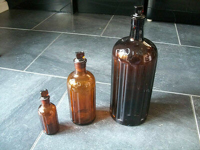 Three Vintage Apothecary Amber Poison Bottles - Medicine - Taxidermy.