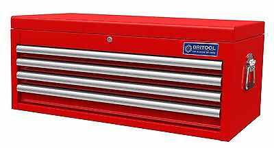 BRITOOL HALLMARK TOOLBOX TOP BOX 4 DRAWER RED 915 x 439 x 384mm WITH DRAW LINERS