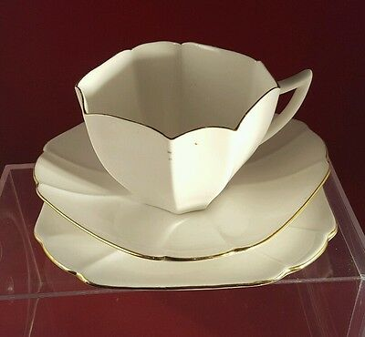 Vintage Art Deco Shelley Queen Anne trio white with gold edge pattern No.723404