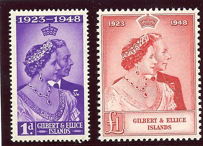 Gilbert & Ellice Islands 1949 KGVI Silver Wedding set MNH. SG 57-58. Sc 54-55.
