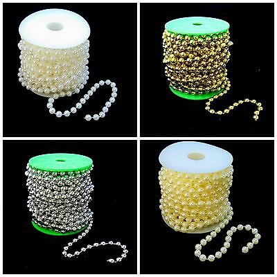 10m - Pearls On a String Garland Reel Wedding Florist IVORY WHITE IRIDESCENT
